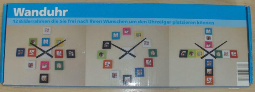 Wanduhr m. 12 Bilderrahmen Bilderuhr Fotouhr Uhr   GM213
